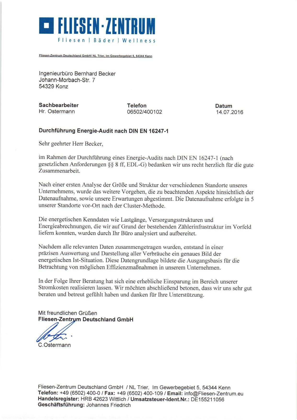 Empfehlungsschreiben-Fliesenzentrum - Ingenieurbüro Becker